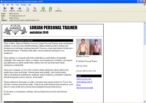 Lohja Personal Trainerin screenshotti ensimmäisestä uutiskirjeestä!