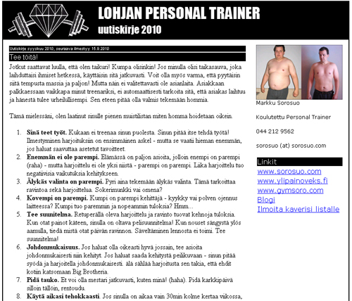 Lohja Personal Trainerin syyskuun uutiskirje